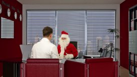 Santa Claus is sick, Doctor measuring blood pressure - motion graphic