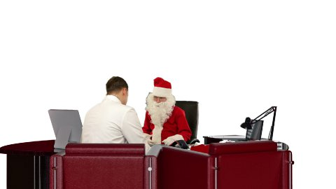 Santa Claus at Doctor, measuring blood pressure, against white - stock footage