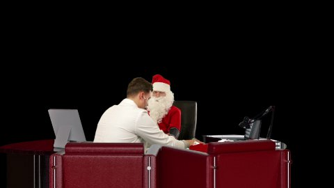 Santa Claus is strong and healthy, Doctor measuring blood pressure, against black - stock footage