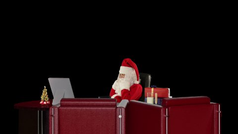Santa Claus having a migraine is checking blood pressure, against black - stock footage