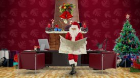 Santa Claus reading a map in his modern Christmas Office - motion graphic
