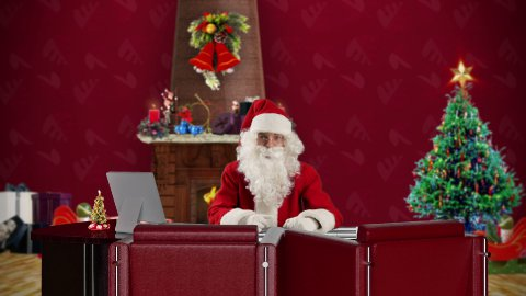 Santa Claus talking in a Christmas Room - stock footage