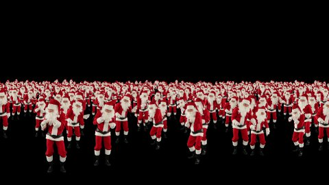 Santa Claus Crowd Dancing, Christmas Party, against black - stock footage