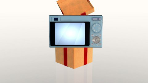 Gift box opening lid to present a digital camera, against white - stock footage