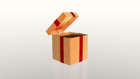 Gift box opening lid to present a virtual product, on white - stock footage