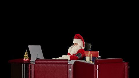Santa Claus checking blood pressure and talking on mobile to his doctor, against black - stock footage