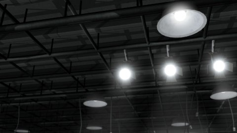 Sound Stage Ceiling Lights - stock footage
