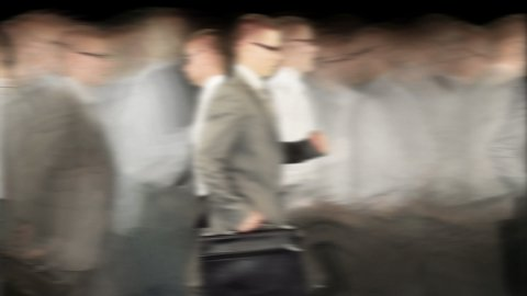 Rush Hour, Businessmen running time lapse, black - stock footage