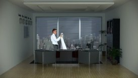 Businessman in Office Reading a Long Bill and City Skyline on the Background - motion graphic
