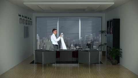 Businessman in Office Reading a Long Bill and City Skyline on the Background - stock footage