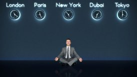 Businessman Meditating with World Clocks on Background in Dark Room - motion graphic