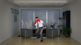 Businessman Boxing in Office Room - motion graphic