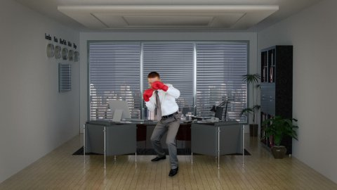 Businessman Boxing in Office Room - stock footage