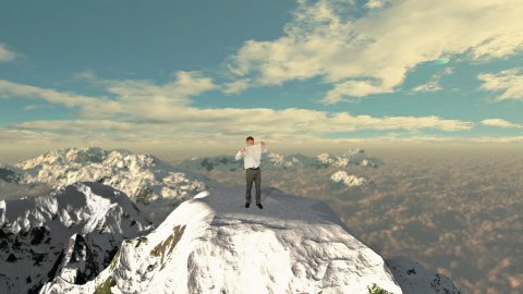 Businessman with Map, lost on top of the mountain - stock footage