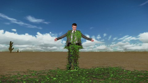 Businessman in Desert with Ivy Growing and Time Lapse Clouds, Caught in Time - stock footage