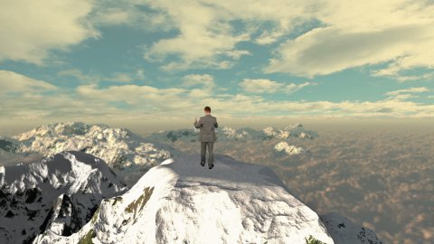 Lost Businessman with Map on top of the mountain - stock footage