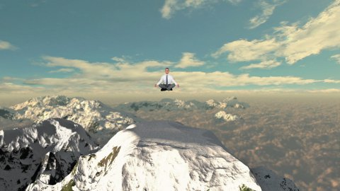 Businessman meditating on top of the mountain above clouds, slowly rising - stock footage
