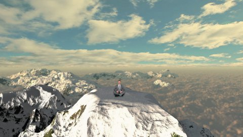 Businessman meditating on top of the mountain - stock footage