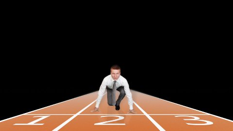 Businessman getting ready for sprint race against black - stock footage