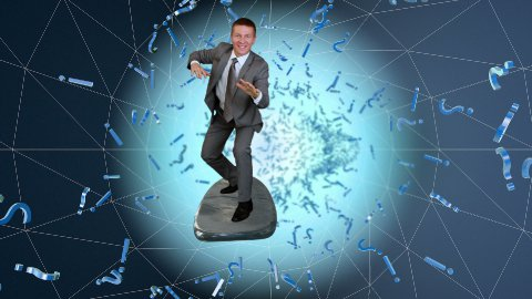 Businessman surfing on a wireframe tunnel surrounded by question and exclamation marks - stock footage