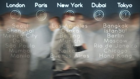 Businessmen Rush Hour with World Clocks and Big Cities on Background in Dark Room, loop - stock footage