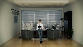 Businessman in Office Writing on a Clipboard with Skyscrapers in the Background - motion graphic