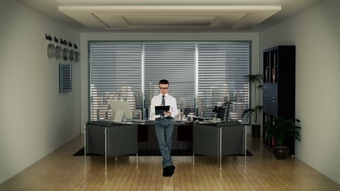 Businessman in Office Writing on a Clipboard with Skyscrapers in the Background - stock footage