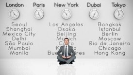Businessman Meditating with World Clocks and Big Cities on Background - motion graphic
