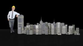 Architect Generating Office Buildings against black - motion graphic