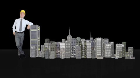 Architect Generating Office Buildings against black - stock footage