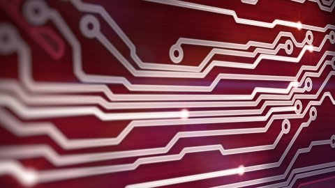 red circuit board providing signals 3d animation - stock footage