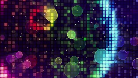 colorful sparkling disco wall and bokeh lights loopable - stock footage