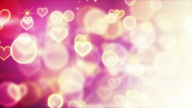 shiny hearts and bokeh lights loop background - motion graphic