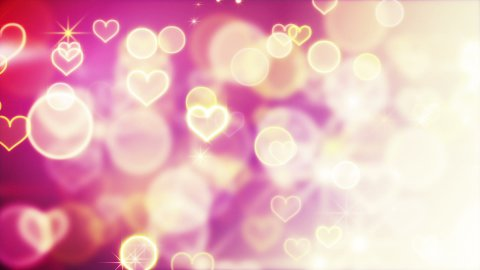 shiny hearts and bokeh lights loop background - stock footage