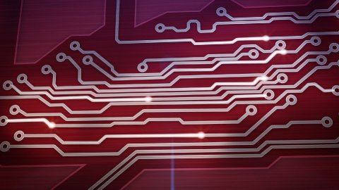 red digital circuit board and signals pan loop - stock footage