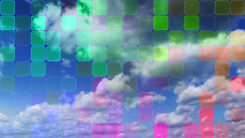 loopable clouds and colorful mosaic - stock footage