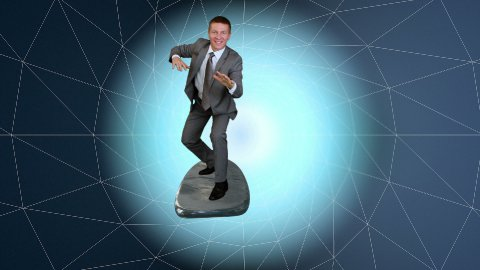 Businessman surfing on a wireframe tunnel - stock footage