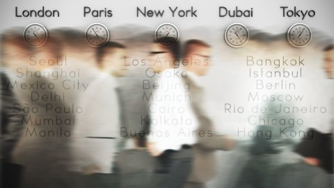 Businessmen Rush Hour with World Clocks and Big Cities on Background, loop - stock footage