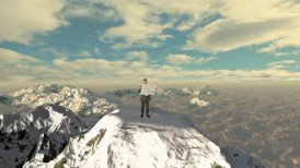 Lost Businessman with Map on top of the mountain above clouds - motion graphic