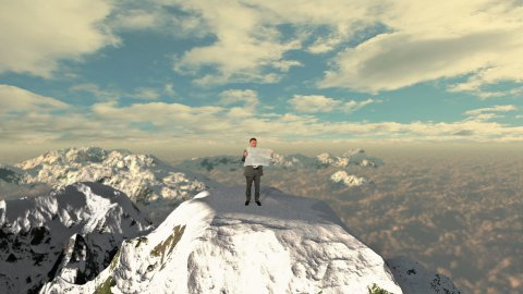 Lost Businessman with Map on top of the mountain above clouds - stock footage