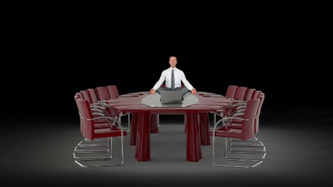 Businessman and Laptop on Office Table Meditating, against black - stock footage