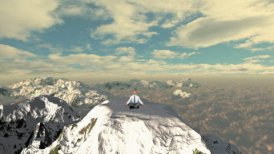 Businessman meditating on top of the mountain above clouds - motion graphic