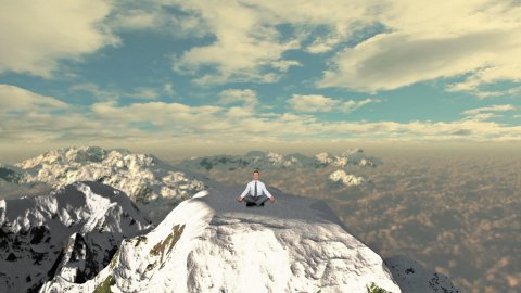 Businessman meditating on top of the mountain above clouds - stock footage