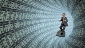 Businessman Surfing inside a Tube of US Dollars - motion graphic