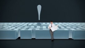Businessman with Map trying to find his way in a Maze with Exclamation Sign  - motion graphic