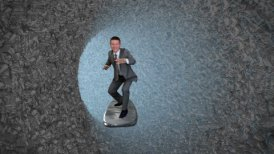 Businessman Surfing inside a Tube of Crumpled Documents - motion graphic