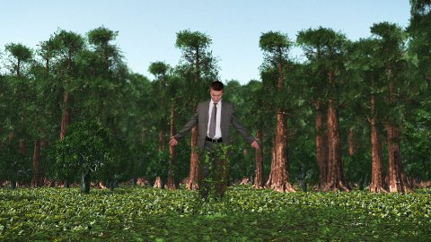 Businessman in Forest with Ivy Growing, Caught in Time - stock footage