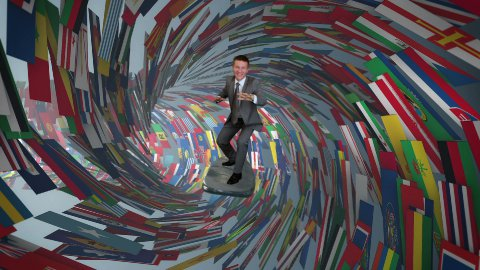 Businessman Surfing inside a Tube made of World Flags - stock footage