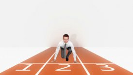 Businessman getting ready for sprint race - motion graphic