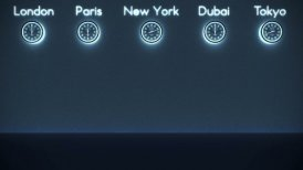World Clocks Background in Dark Room with space for text, loop